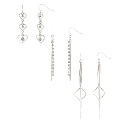 Decree® 3-pr. Heart, Chain & Metal Twist Dangle Earrings Set
