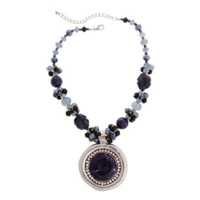 Mixit™ Blue and Silver-Tone Bead and Nugget Pendant Necklace