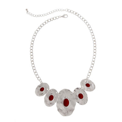 Mixit™ Silver-Tone Red Bead Oval Disc Necklace