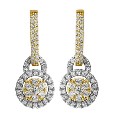 Diamond Blossom 1 CT. T.W. Genuine White Diamond 14K Gold Drop Earrings