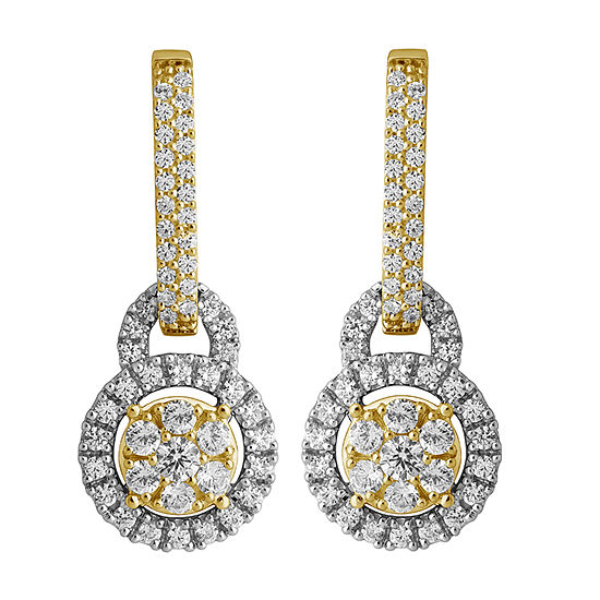 Diamond Blossom 1 CT. T.W. Genuine White Diamond 14K Gold Drop Earrings