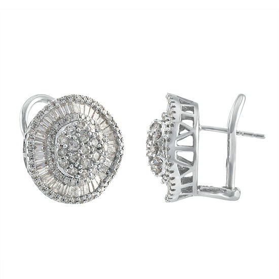 2 CT. T.W. Genuine White Diamond 14K White Gold Stud Earrings
