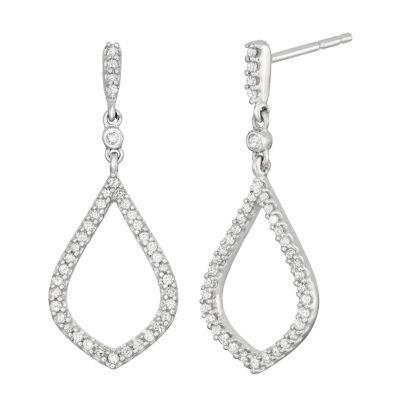 1/4 CT. T.W. Genuine White Diamond 10K Gold Drop Earrings