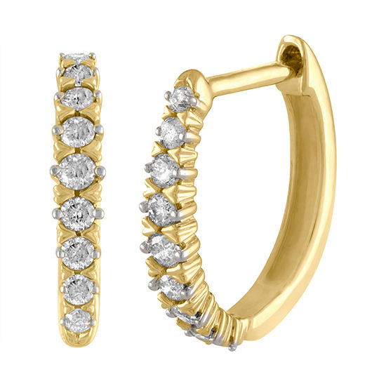 1/4 CT. T.W. Genuine White Diamond 10K Gold 11.8mm Hoop Earrings