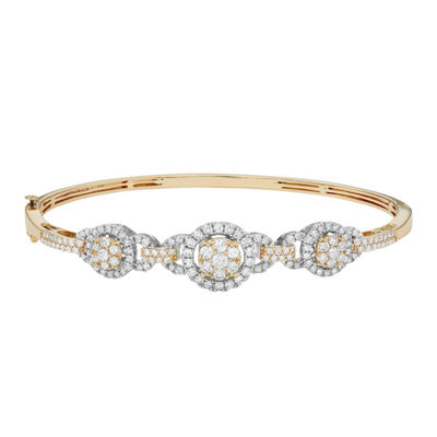 Diamond Blossom 2 CT. T.W. Genuine White Diamond 14K Gold Bangle Bracelet
