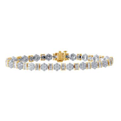 Diamond Blossom Womens 7 Inch 5 CT. T.W. White Diamond 10K Gold Link Bracelet