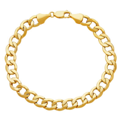 Made In Italy Mens 9 Inch 10K Gold Chain Bracelet