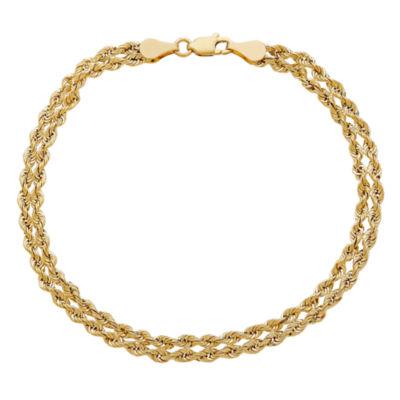 14K Gold 7.5 Inch Hollow Rope Link Bracelet