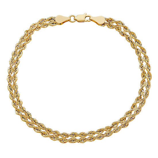 14K Gold 7.5 Inch Hollow Rope Link Bracelet