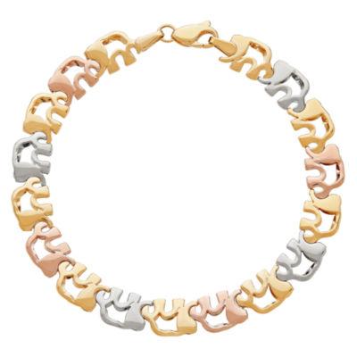 14K Gold 7.5 Inch Hollow Stampato Link Bracelet