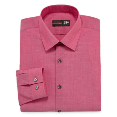 JF J.Ferrar Easy-Care Stretch Mens Long Sleeve Stretch Dress Shirt - Slim
