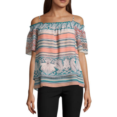 by&by Long Sleeve Boat Neck Chiffon Geo Linear Blouse-Juniors