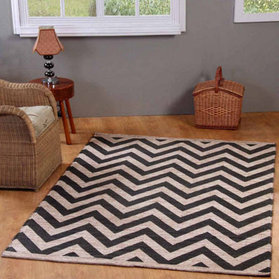 Chesapeake Merchandising Chevron Printed Jute Cotton Area Rug