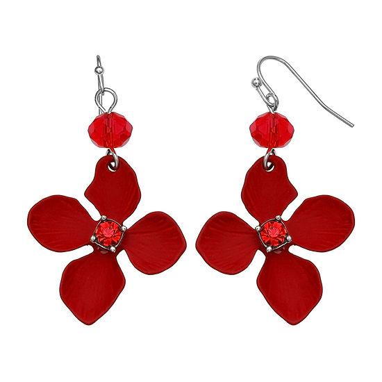 Mixit Red Flower Drop Earrings