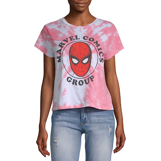 Marvel-Juniors Womens Crew Neck Short Sleeve Spiderman Tie-dye Graphic T-Shirt