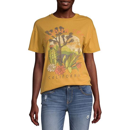 Juniors Destination Womens Crew Neck Short Sleeve Graphic T-Shirt