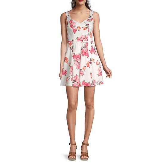 Trixxi-Juniors Sleeveless Floral Fit & Flare Dress