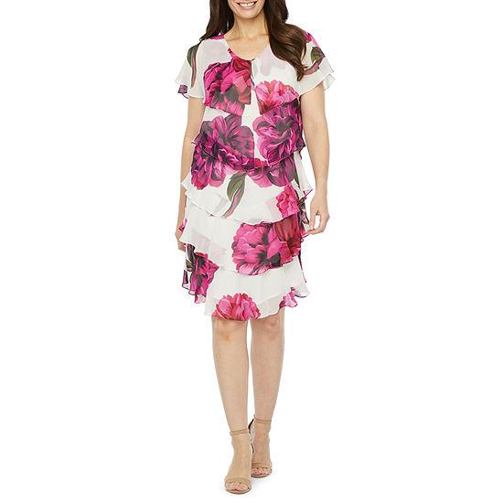 S. L. Fashions Short Sleeve Shift Dress