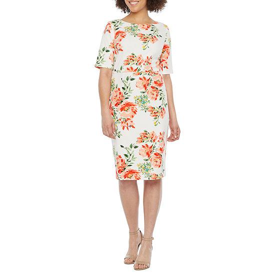Alyx 3/4 Sleeve Floral Midi Sheath Dress