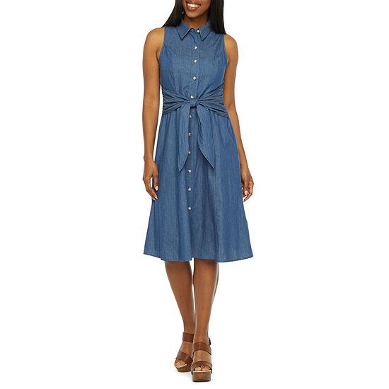 R & K Originals Sleeveless Shirt Dress