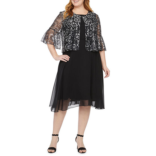 J Taylor-Plus 3/4 Bell Sleeve Lace Jacket Dress