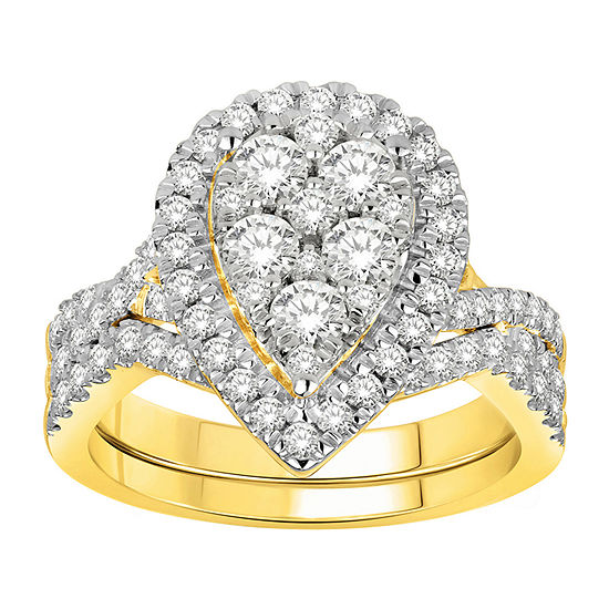 Womens 1 1/2 CT. T.W. Genuine White Diamond 14K Gold Pear Bridal Set