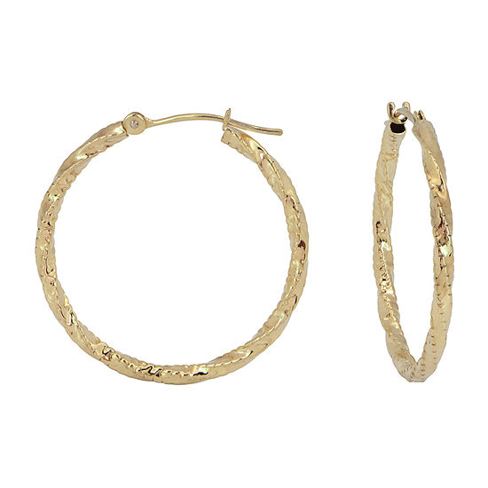 14K Gold Twisted Hoop Earrings