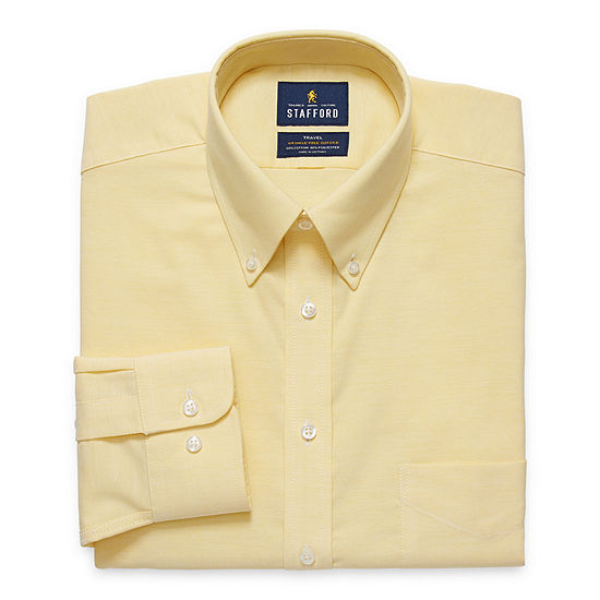 Stafford - Fitted Travel Stretch Oxford Mens Button Down Collar Long Sleeve Wrinkle Free Stretch Dress Shirt