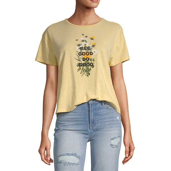 Vanilla Star Juniors-Womens Round Neck Short Sleeve T-Shirt