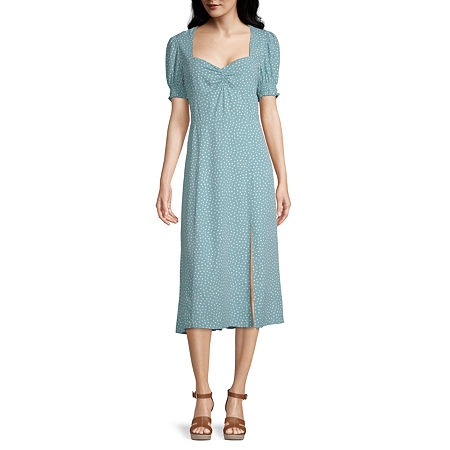 Vintage Style Dresses | Vintage Inspired Dresses Society And Stitch Short Sleeve Dots Midi A-Line Dress-Juniors Small  Blue $29.99 AT vintagedancer.com