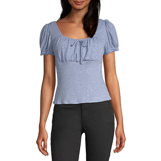 Byer California-Juniors Womens Square Neck Short Sleeve Blouse
