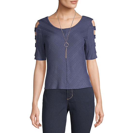 Byer California-Juniors Womens Round Neck Elbow Sleeve Knit Blouse