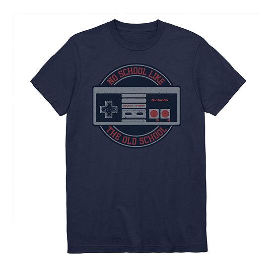 Old School Nintendo Mens Crew Neck Short Sleeve Graphic T-Shirt
