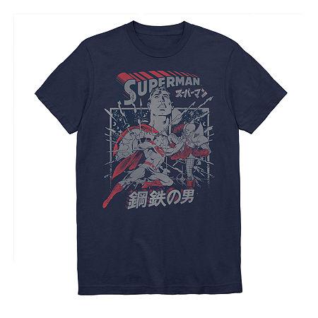 Superman Kanji Mens Crew Neck Short Sleeve DC Comics Graphic T-Shirt, Xx-large , Blue