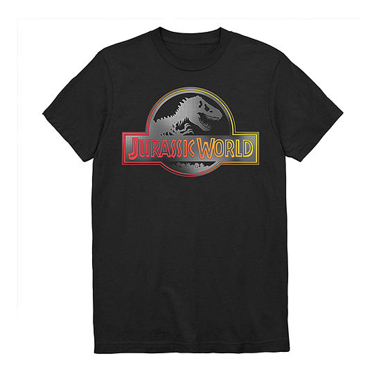 Mens Crew Neck Short Sleeve Jurassic World Graphic T-Shirt