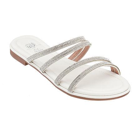 GC Shoes Womens Cindy Flat Sandals, 8 Medium, White