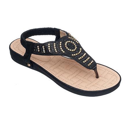 Shoes Womens Cabana Flat Sandals, 6 Medium, Black