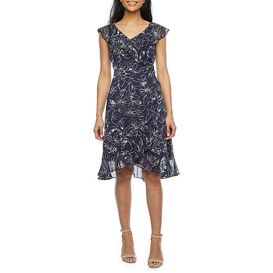 London Style Short Sleeve Floral High-Low Fit & Flare Dress