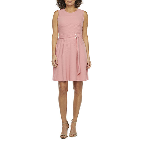52seven Sleeveless Textured Belted Fit & Flare Dress