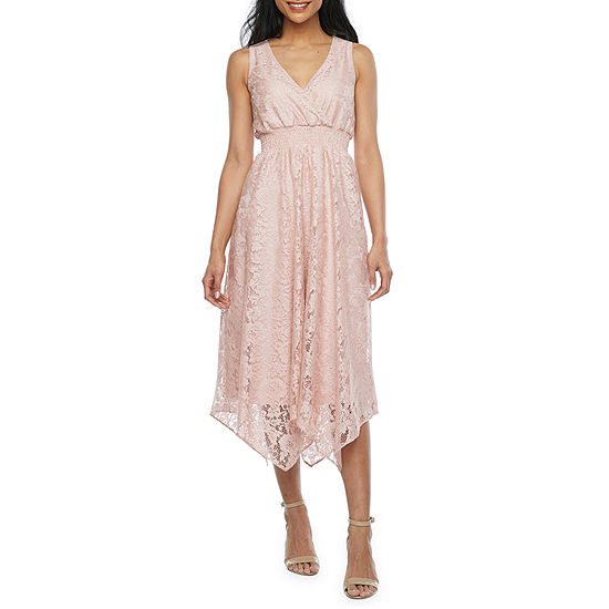 J Taylor Sleeveless Floral Lace High-Low Fit & Flare Dress