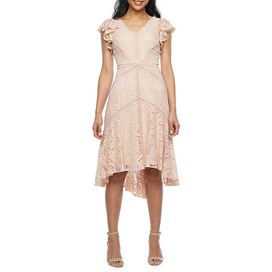 J Taylor Short Sleeve Floral Lace High-Low Fit & Flare Dress