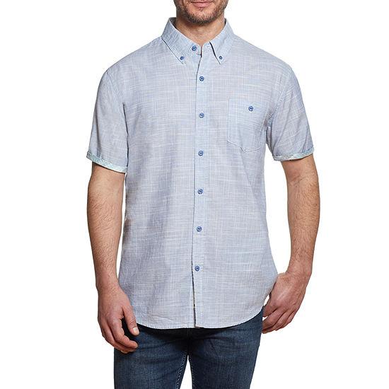American Threads Mens Short Sleeve Button-Down Shirt