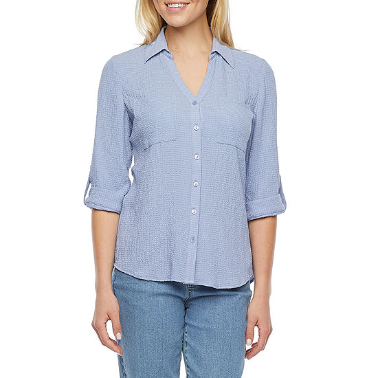 by&by-Juniors Womens 3/4 Sleeve Knit Blouse