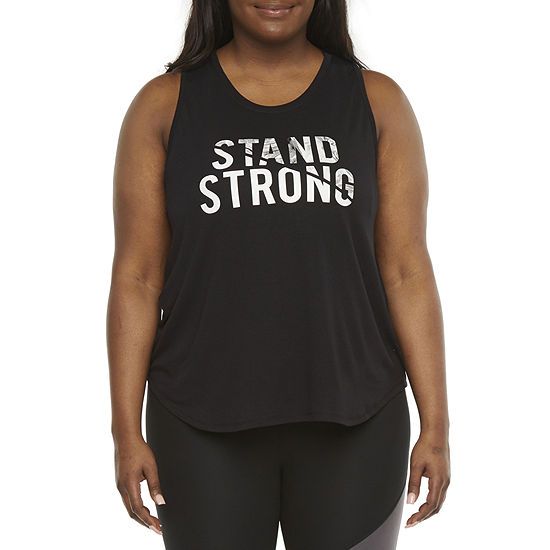 Xersion Womens Round Neck Short Sleeve Tank Top Plus