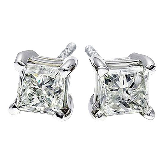1/2 CT. T.W. Genuine Diamond Princess-Cut Stud Earrings