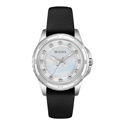 Bulova® Womens White Mother-of-Pearl Black Leather Diamond Accent Watch 98P139