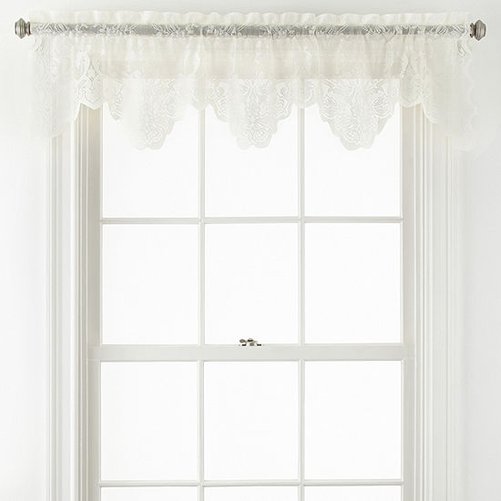 Home Expressions Jessica Lace Rod Pocket Tailored Valance
