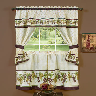 Tuscany Cottage 3 -pc Rod -Pocket Window Tiers & Tailored Topper Set
