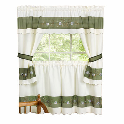 Berkshire Embellished Cottage 3-pc Rod-Pocket Window Tiers & Tailored Topper Set