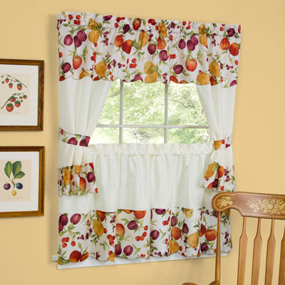 Chesapeake Embellished Cottage Rod-Pocket Window Tiers & Tailored Topper Set
